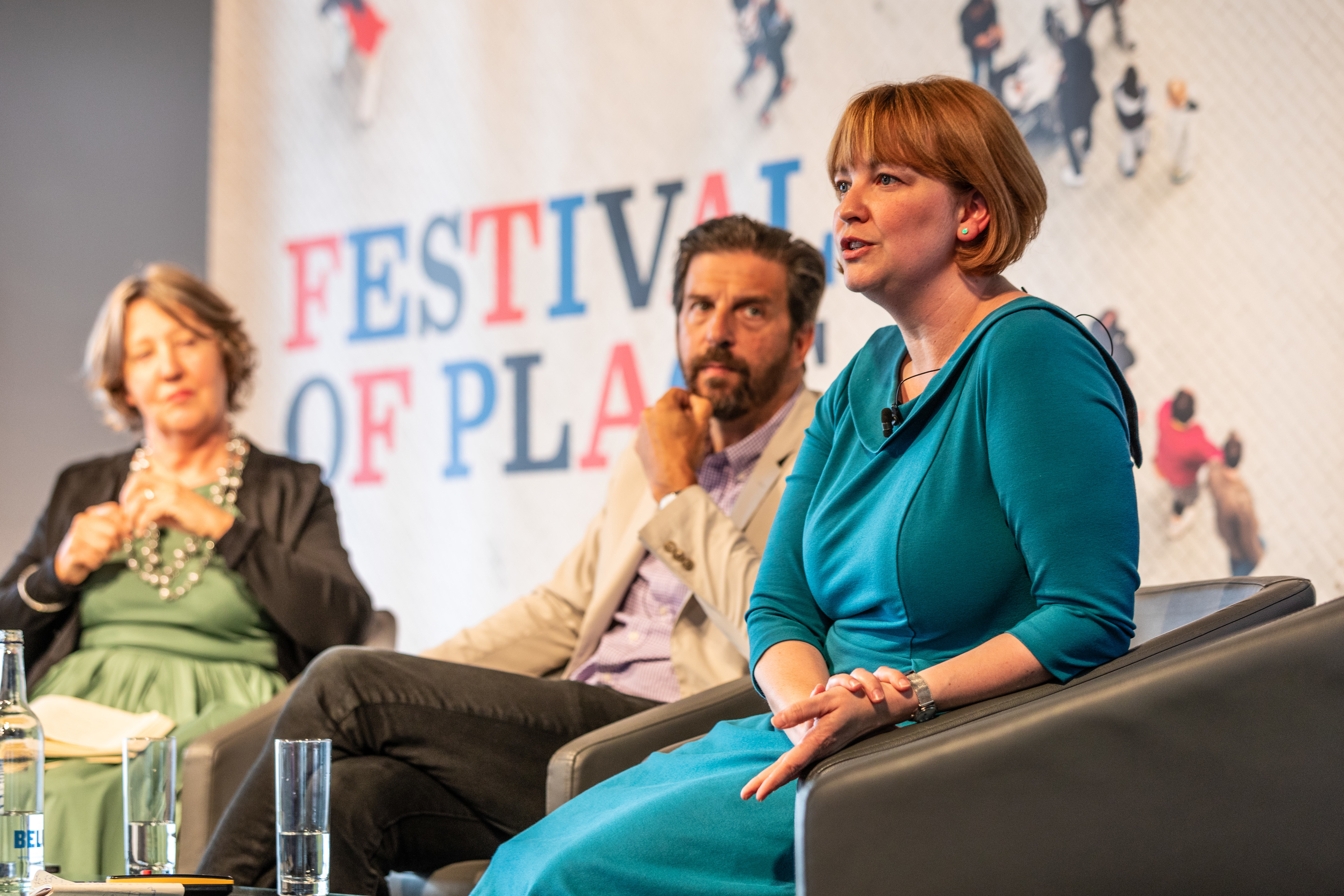 Patricia Brown, Rachel Fisher and Tim Tompkins on stage at the Festival of Place 2019